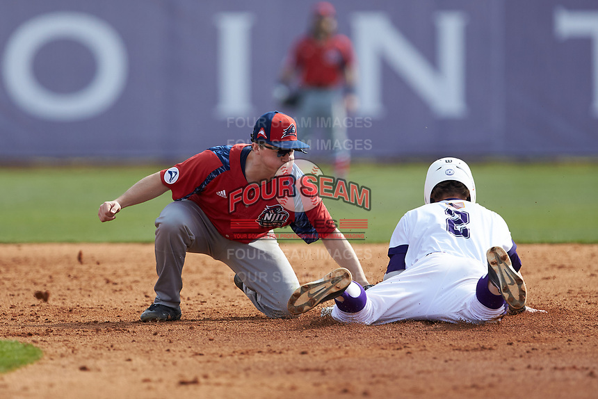 Hunter Lee (2) of the High Point Panthers slides into second base ahead of the tag by Tom Brady (23) of the NJIT Highlanders at Williard Stadium on February 18, 2017 in High Point, North Carolina. The Panthers defeated the Highlanders 11-0 in game one of a double-header. (Brian Westerholt/Four Seam Images)
