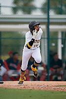 GCL Pirates Angel Basabe (16) runs to first base during a Gulf Coast League game against the GCL Red Sox on August 1, 2019 at Pirate City in Bradenton, Florida.  GCL Red Sox defeated the GCL Pirates 11-3.  (Mike Janes/Four Seam Images)