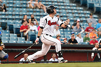 Nashville Sounds designated hitter Jeremy Hermida (27) at bat during a game against the Omaha Storm Chasers on May 19, 2014 at Herschel Greer Stadium in Nashville, Tennessee.  Nashville defeated Omaha 5-4.  (Mike Janes/Four Seam Images)