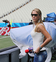 MEXICAN TV REPORTER INES SAINZ WORKING DURING BRAZIL TRAINING