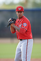 Washington Nationals pitcher Jhonatan German (34) doing pitching drills before a Minor League Spring Training game against the Miami Marlins on March 28, 2018 at FITTEAM Ballpark of the Palm Beaches in West Palm Beach, Florida.  (Mike Janes/Four Seam Images)