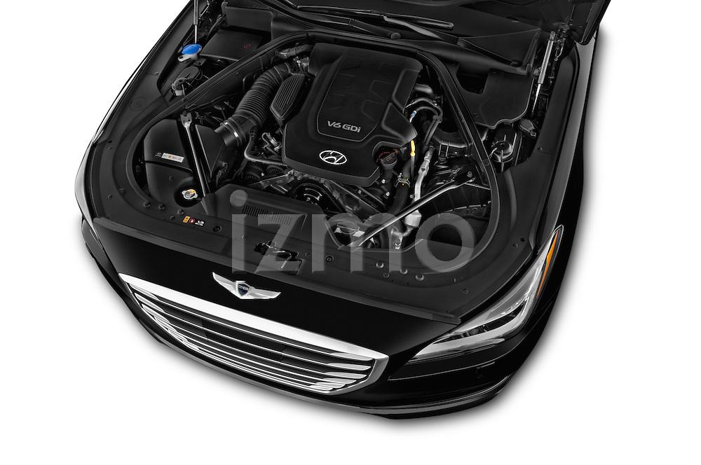 Car Stock 2015 Hyundai Genesis 3.8 4 Door Sedan Engine high angle detail view