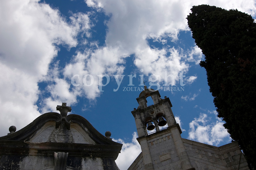 Low angle view of chapels in Herceg Novi, Montenegro, Europe
