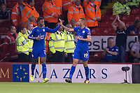 Demarai Gray of Leicester City is congratulated on his goal by Islam Slimani of Leicester City during the Carabao Cup match between Sheffield United and Leicester City at Bramall Lane, Sheffield, England on 22 August 2017. Photo by James Williamson / PRiME Media Images.