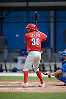 Philadelphia Phillies Arquimedes Gamboa (30) at bat during an Instructional League game against the Toronto Blue Jays on October 7, 2017 at the Englebert Complex in Dunedin, Florida.  (Mike Janes/Four Seam Images)