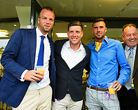 Bristol Rovers Manager Darrell Clarke and former Salisbury City Players Callum Hart right and Brian Dutton during Ladies Evening Racing at Salisbury Racecourse on 15th July 2017