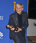 a_Ellen Degeneres 129 poses in the press room with awards at the 77th Annual Golden Globe Awards at The Beverly Hilton Hotel on January 05, 2020 in Beverly Hills, California.