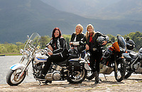 29-5-2014: Queens of the Road Patricia O&rsquo;Donoghue, Fiona Carroll and Eilish Coffey from Killarney pictured with their super motorbikes as they are gear up for Ireland Bike Fest 2014 which rumbles into Killarney for its eight consecutive year this weekend. <br /> Over 40,000 bikers and biking enthusiasts will converge on Killarney this weekend for Ireland Bike Fest and many of the bikers will be women.&ldquo;Women are taking to the roads in record numbers and not as pillion passengers but as fully fledged motorcycle riders,&rdquo; says Patricia O&rsquo;Donoghue, who has been biking for nearly five years. More information on www.irelandbikefest.com<br /> Photo: Don MacMonagle<br /> <br /> <br /> REPRO FREE PHOTO