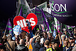 "© Joel Goodman - 07973 332324 . No syndication permitted . 29/09/2013 . Manchester , UK . A Unison lead demonstration titled "" Save our NHS "" through Manchester City Centre today (Sunday 29th September 2013) coinciding with the Conservative Party Conference in the city . Photo credit : Joel Goodman"