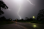 Belize - SEPTEMBER 14, 2007: The Southern Highway at Machaca Hill during a lightning storm on September 14, 2007 in Belize.  (PHOTOGRAPH BY MICHAEL NAGLE)