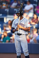 Mahoning Valley Scrappers right fielder Will Benson (7) on deck during a game against the Williamsport Crosscutters on July 8, 2017 at BB&T Ballpark at Historic Bowman Field in Williamsport, Pennsylvania.  Williamsport defeated Mahoning Valley 6-1.  (Mike Janes/Four Seam Images)