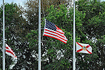 10 March 2012: Flags are flying at half mast to honor the memory of a fallen police constable in Brevard County at a Spring Training game between the Washington Nationals and the New York Mets at Space Coast Stadium in Viera, Florida. The Nationals defeated the Mets 8-2 in Grapefruit League play. Mandatory Credit: Ed Wolfstein Photo
