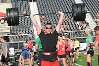 NWA Democrat-Gazette/FLIP PUTTHOFF<br /> CROSSFIT COMPETITORS<br /> Justin Allen competes Saturday Sept. 5 2015 during a weight-lifting event at the CrossFit Mid-America Championship at Tiger Stadium in Bentonville.  About 300 athletes from several states competed in weight-lifting and endurance events. The championship is a benefit for Guardians for Heroes, which helps veterans purchase gym memberships and exercise equipment, said Lee Kelly, owner of CrossFit NWA. Events continue at 8 a.m. today at the stadium. The public is invited to watch at no charge, Kelly said.