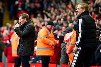 Sunday, 23 February 2014<br /> Pictured: Liverpool's Manager Brendan Rodgers gives his team the thumbs up after they score the fourth goal<br /> Re: Barclay's Premier League, Liverpool FC v Swansea City FC v at Anfield Stadium, Liverpool Merseyside, UK.