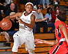 Aziah Hudson #2 of Baldwin, left, looks to drive to the net during the Nassau County varsity girls basketball Class AA semifinals against Freeport at LIU Post on Saturday, Feb. 25, 2017. She scored a team-high 19 points to lead the Lady Bruins to a 54-36 win.
