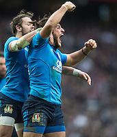 Twickenham, United Kingdom. Giovanbattista VENDDITTI, celebrates, scoring his first half try during the Six Nations Rugby match. England vs Italy, at the  RFU Stadium, Twickenham, England, <br /> <br /> Sunday  26/02/2017<br /> <br /> [Mandatory Credit; Peter Spurrier/Intersport-images]