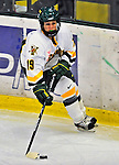 21 February 2009: University of Vermont Catamounts' defenseman Jackie Thode, a Junior from Aurora, CO, in action against the University of Maine Black Bears at Gutterson Fieldhouse in Burlington, Vermont. The Catamounts shut out the Black Bears 1-0. Mandatory Photo Credit: Ed Wolfstein Photo