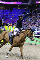 OMAHA, NEBRASKA - APR 2: Guido Katte jun. celebrates a clear round aboard Qinghai during the Longines FEI World Cup Jumping Final at the CenturyLink Center on April 2, 2017 in Omaha, Nebraska. (Photo by Taylor Pence/Eclipse Sportswire/Getty Images)