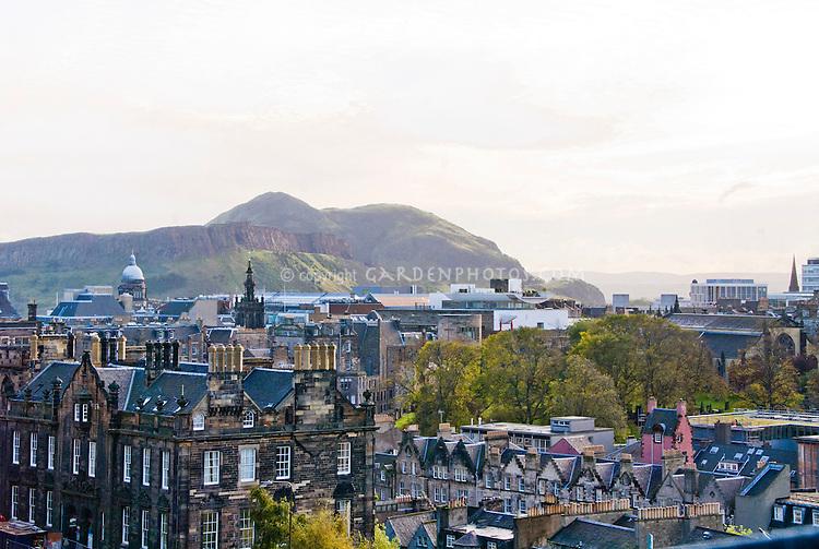 Edinburgh, Scotland, View from Edinburgh Castle toward Arthur's Seat Volcanic Mount
