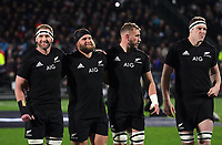 From left, Kieran Read, Joe Moody, Luke Romano and Brodie Retallick line up before the Rugby Championship match between the NZ All Blacks and Argentina Pumas at Yarrow Stadium in New Plymouth, New Zealand on Saturday, 9 September 2017. Photo: Dave Lintott / lintottphoto.co.nz