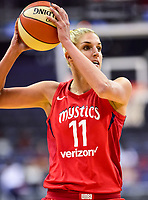 Washington, DC - June 15, 2018: Washington Mystics guard Elena Delle Donne (11) handles the ball during game between the Washington Mystics and Los Angeles Sparks at the Capital One Arena in Washington, DC. (Photo by Phil Peters/Media Images International)