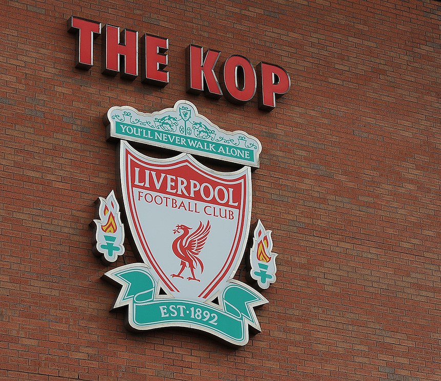 The Liverpool club crest on the Spion Kop at Anfield, home of the club..Football - Barclays Premiership - Liverpool v Manchester United - Sunday 23rd September 2012 - Anfield - Liverpool..