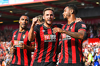 Dan Gosling of AFC Bournemouth middle celebrates with goalscorer Joshua King of AFC Bournemouth right and Callum Wilson of AFC Bournemouthb during AFC Bournemouth vs Leicester City, Premier League Football at the Vitality Stadium on 15th September 2018