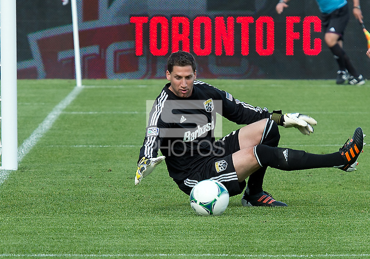 18 May 2013: Columbus Crew goalkeeper Andy Gruenebaum #30 in action during an MLS game between the Columbus Crew and Toronto FC at BMO Field in Toronto, Ontario Canada..The Columbus Crew won 1-0...
