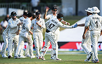 24th November 2019; Mt Maunganui, New Zealand;  Mitchell Santner and team mates celebrate the wicket of Burns on day 4 of the 1st international cricket test match, New Zealand versus England at Bay Oval, Mt Maunganui, New Zealand.  - Editorial Use