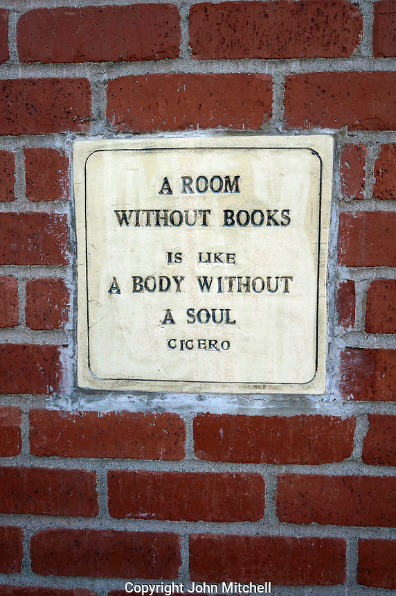 Wall plaque with Cicero quote, Village Books in Fairhaven, Bellingham, Washington state, USA