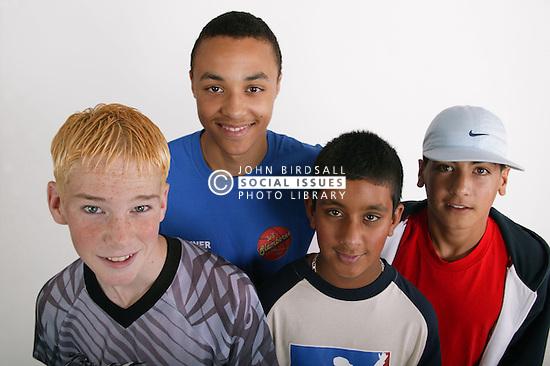 Multiracial group of teenage boys,