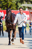 AUS-William Baxter presents Kdale Mr Collins during the First Horse Inspection for the CCI3*-L. 2019 AUS-Mitsubishi Motors Australian International 3 Day Event. Victoria Park. Adelaide. South Australia. Copyright Photo: Libby Law Photography