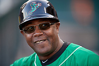 Norfolk Tides coach Ramon Sambo (16) during an International League game against the Buffalo Bisons on June 22, 2019 at Sahlen Field in Buffalo, New York.  Buffalo defeated Norfolk 3-0.  (Mike Janes/Four Seam Images)