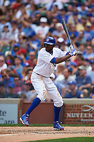 Chicago Cubs outfielder Dexter Fowler (24) at bat during a game against the Milwaukee Brewers on August 13, 2015 at Wrigley Field in Chicago, Illinois.  Chicago defeated Milwaukee 9-2.  (Mike Janes/Four Seam Images)