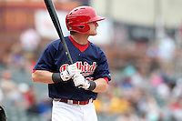 Memphis Redbirds outfielder Aaron Luna #27 at bat during a game versus the Round Rock Express at Autozone Park on April 30, 2011 in Memphis, Tennessee.  Memphis defeated Round Rock by the score of 10-7.  Photo By Mike Janes/Four Seam Images