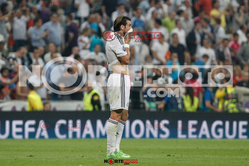 Real Madrid´s Gareth Bale regrets the defeat after the Champions League semi final soccer match between Real Madrid and Juventus at Santiago Bernabeu stadium in Madrid, Spain. May 13, 2015. (ALTERPHOTOS/Victor Blanco) /NortePhoto.COM