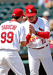 28 February 2007: St. Louis Cardinals manager Tony La Russa greets left fielder So Taguchi during pre-game introductions prior to facing the Florida Marlins on Opening Day for Spring Training at Roger Dean Stadium in Jupiter, Florida.<br /> <br /> Mandatory Photo Credit: Ed Wolfstein Photo