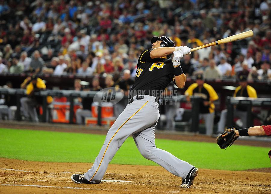 Apr. 17, 2012; Phoenix, AZ, USA; Pittsburgh Pirates catcher Rod Barajas swings against the Arizona Diamondbacks at Chase Field. Mandatory Credit: Mark J. Rebilas-