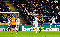 Hull City's forward Adama Diomande (14) heads at Sheffield United's goalkeeper Jamal Blackman (27) during the Sky Bet Championship match between Hull City and Sheff United at the KC Stadium, Kingston upon Hull, England on 23 February 2018. Photo by Stephen Buckley / PRiME Media Images.