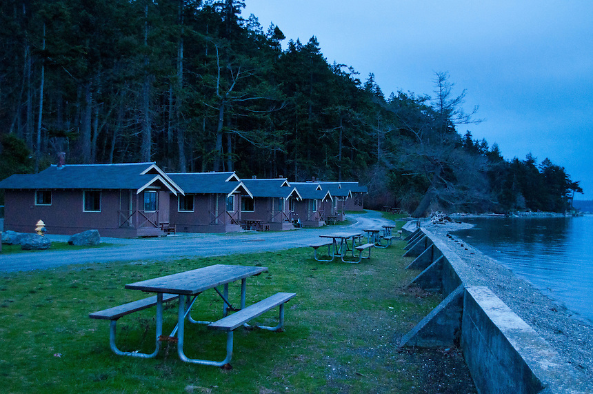 Cabins and Picnic Tables, Cama Beach State Park, Camano Island, Washington, US