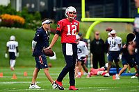 July 27, 2017: New England Patriots quarterback Tom Brady (12) waits to start a drill at the New England Patriots training camp held on the practice field at Gillette Stadium, in Foxborough, Massachusetts. Eric Canha/CSM