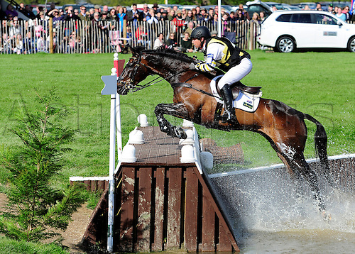 09.05.2015. Badminton, South Gloucestershire, England.  Mitsubishi Motors Badminton Horse Trials  day 3 of 4 - Sam Griffiths (AUS) riding Happy Times during the cross country phase -