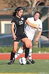 Manhattan Beach, CA 01/25/10 - Haley Rosen (Palos Verdes #23) and Melina Cohen  (Mira Costa #21)in action during the Bay League game between Mira Costa and Palos Verdes, Palos Verdes defeated Mira Costa 2-0.