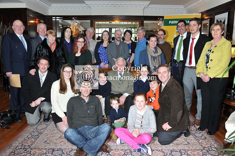 Dr Kevin Cahill from Rathmore, County Kerry,  now retired in New York who was recipient of the inaugural 'Friend of Kerry' at Siamsa Tire, Tralee on Tuesday. Dr. Cahill is pictured with his family back from left,  Frank and Anne Buckley, Tim O'Connor (The Gathering), Sean, Josphine, Denis, Aaron, Margaret, Chris, Kevin, Micheal, Donal, Waters,Helen, Oliver, Christine, Ciaran, Brendan, Edward, Oliver, Beatrice and Ciaran all Cahills. Also in picture is Tom Curran, Kerry County Manager..Picture by Don MacMonagle..BIO:.As a distinguished doctor of medicine, Dr. Kevin Cahill has not only treated patients including Pope John Paul II and Ronald Reagan, but has offered his vast expertise to a number of national and international organizations including the United Nations and the New York Police Department, where he is chief medical advisor for counterterrorism. These efforts to aid human suffering come as no surprise considering that Cahill began his medical career in 1961, studying tropical disease in the slums of Calcutta beside Mother Theresa.  Cahill's relief efforts have since spanned the globe and include treating refugees in Sudan, serving concurrently as the special assistant to the governor of health affairs, chairman of health planning commission, and chairman of the Health Research Council of New York State. Cahill has cared for patients in 65 countries in some of the most war-torn places in the world, and was among the first to predict the famine in Somalia and has been caught behind the lines of armed conflict in Beirut and Managua...From 1969-2006 he was chairman of the department of tropical medicine at the Royal College of Surgeons in Ireland, where he taught over 4,000 medical students over the course of his career. In addition, he has been director of the tropical disease center at Lenox Hill Hospital, clinical professor of tropical medicine and molecular parasitology at NYU Medical School, and the consultant in tropical medicine for the United Nations He