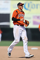 Bowie Baysox shortstop Manny Machado #3 smiles during a game against the New Hampshire Fisher Cats at Prince George's Stadium on June 17, 2012 in Bowie, Maryland. New Hampshire defeated Bowie 4-3 in 13 innings. (Brace Hemmelgarn/Four Seam Images)