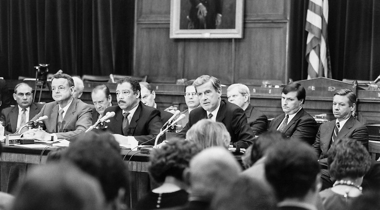 House EthicsCommittee hearing on Rep. Jim Wright, D-Texas. April 1989 (Photo by Laura Patterson/CQ Roll Call)