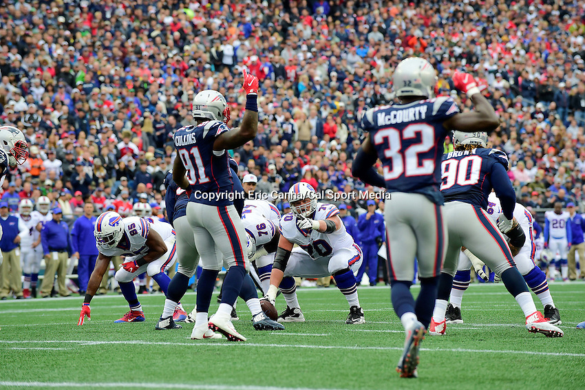 Sunday, October 2, 2016: Buffalo Bills center Eric Wood (70) and New England Patriots outside linebacker Jamie Collins (91) in game action during the NFL game between the Buffalo Bills and the New England Patriots held at Gillette Stadium in Foxborough Massachusetts. Buffalo defeats New England 16-0. Eric Canha/Cal Sport Media