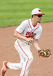 MIDDLETOWN, CT. 06 June 2018-060618BS573 - Wolcott's Ethan Gillotti (24) fields a grounder hit to him during the CIAC Tournament Class M Semi-Final baseball game between Ledyard and Wolcott at Palmer Field on Wednesday afternoon. Wolcott beat Ledyard 9-4 and advances to the Class M final this weekend. Bill Shettle Republican-American