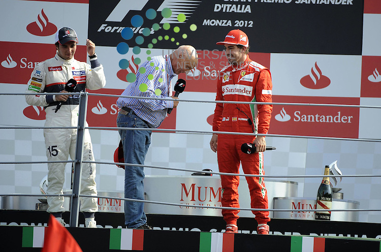 Formula 1 Race 13 GP of Italy, Monza - 07.-09. Sept. 2012.Podium - Niki Lauda (AUT) 3x F1 World Champion - Sergio Perez (MEX) Sauber F1 Team - Fernando Alonso (ESP),  Scuderia Ferrari ..Hasan Bratic;10/9/2012 Universal News And Sport (Europe) .All pictures must be credited to www.universalnewsandsport.com. (Office)0844 884 51 22.