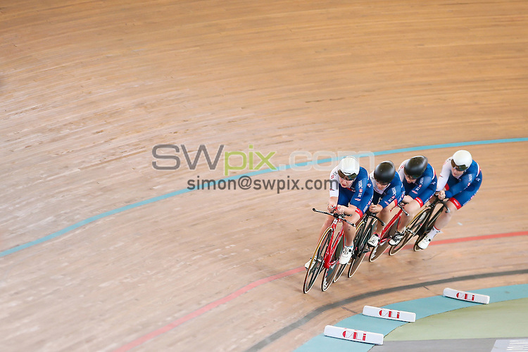 Picture by Alex Whitehead/SWpix.com - 19/02/2017 - Cycling - Tissot UCI Track Cycling World Cup - Velodromo Alcides Nieto Patino, Cali, Colombia - Women's Team Pursuit. Great Britain's Emily Kay, Manon Lloyd, Emily Nelson and Neah Evans.